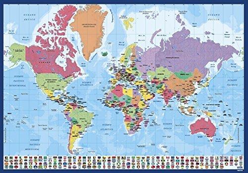 Erik bureau-onderlegger wereldkaart Portugees 34 x 49 cm