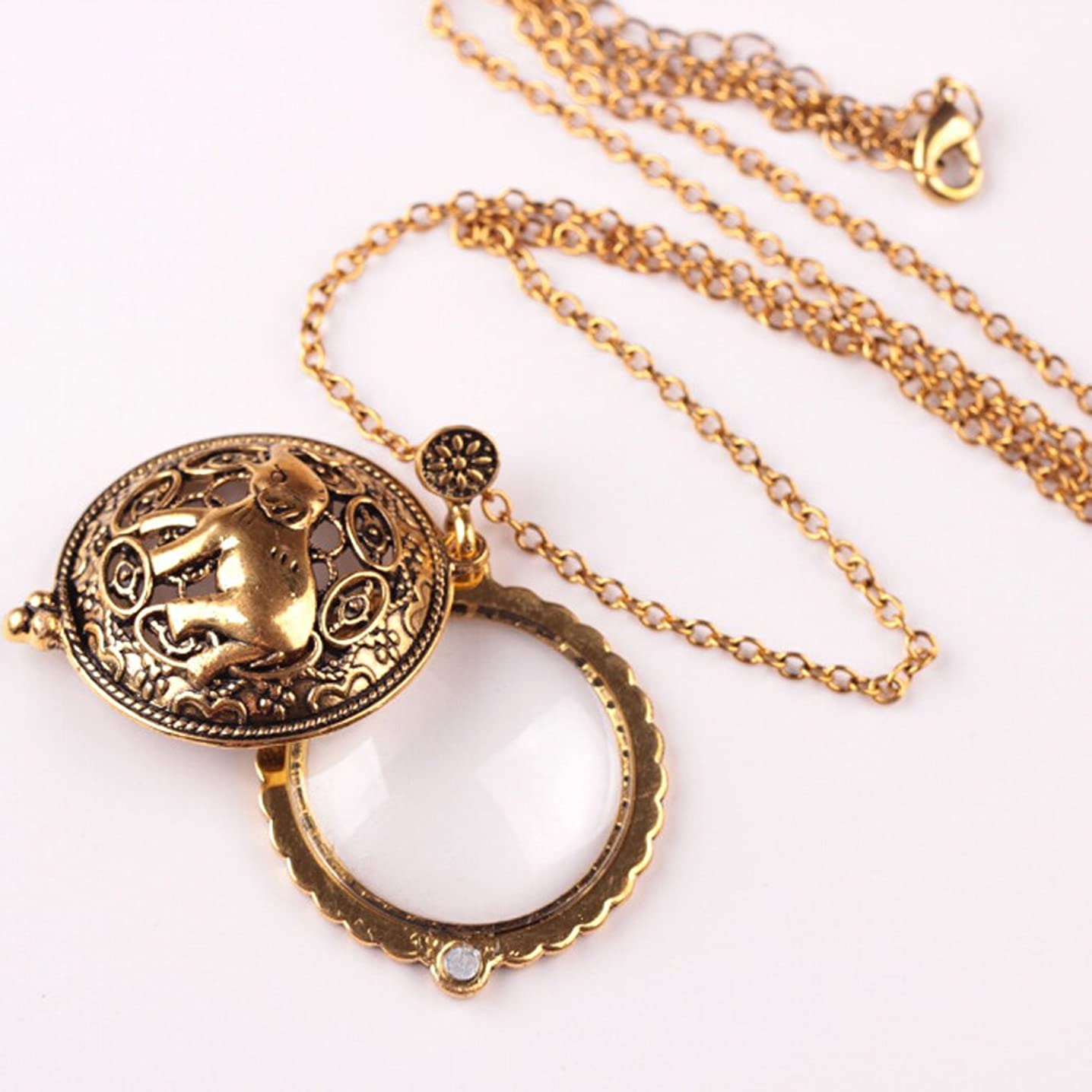 WESEAZON Handheld Magnifier Classic Magnifier Glass Convex Lens Old Man Reading Glasses 2X Lady Necklace Magnifier Gold Color Pendant 38mm Wide Necklace 600mm