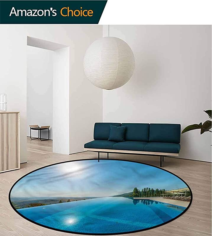 RUGSMAT Summer Modern Washable Round Bath Mat Pool On A Summer Daytime Bedroom Home Shaggy Carpet Diameter 24