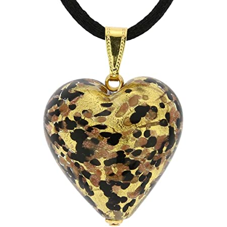 Blue and White Murano Glass Heart Italian Glass Heart Pendant Necklace Mother\u2019s Day Gift for Her Gold Heart Necklace