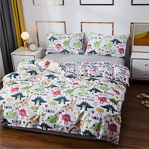 Juego de ropa de cama en 3D con diseño de dinosaurio impreso, funda de edredón y funda de almohada de microfibra para cama infantil, 220 x 240 cm