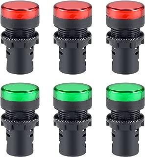 uxcell 6Pcs AC/DC 24V Indicator Lights, Red+Green LED, Flush Panel Mount 7/8