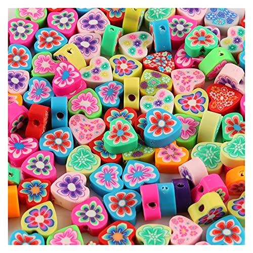 WEIMEIDA JQBB503 50pc 10mm Color Mezclado Corazón Flor Patrón Granos Polímero Arcilla Polímero Granos de Arcilla Polímero Perlas Sueltas para Collar DIY Pulsera Accesorios SGNTZ