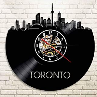 WANGXJ Toronto Skyline Wall Art Home Decor Wall Clock Canada Cityscape Vinyl Record Clock Canadian Gift Canada Travel Decorative Clock 30X30Cm