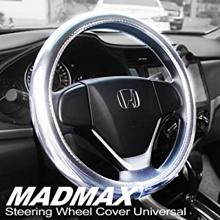 Best Madmax Steering Wheel Cover, Universal 14.5 Inches PU Leather Wheel Cover, Glossy Finish, Soft Padding, Durable, Odorless, Synthetic Leather, Comfort Grip Handle, Silver Review