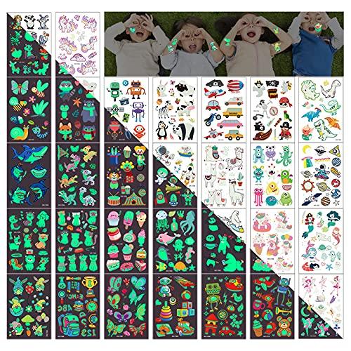 Tattoo Kinder Leuchtend,30 Blätter Leuchten Tattoos ,500+ Motive Tattoo Aufkleber Mädchen Junge,Cartoon Sticker für Jungen Mädchen Mitgebsel Kindergeburtstag Party