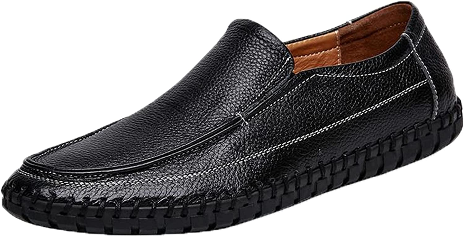 Generic4 Men Leather Loafers Breathable Lightweight Solid Color Round Toe Flat Moccasins Male Comfort Driving Walking Casual Shoes Black