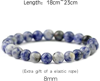 Natural Bule Spot Stone Bracelets for Women 6/8/10/12MM Braided/Elastic Men Charms Bangle Fashion Jewelry Gifts