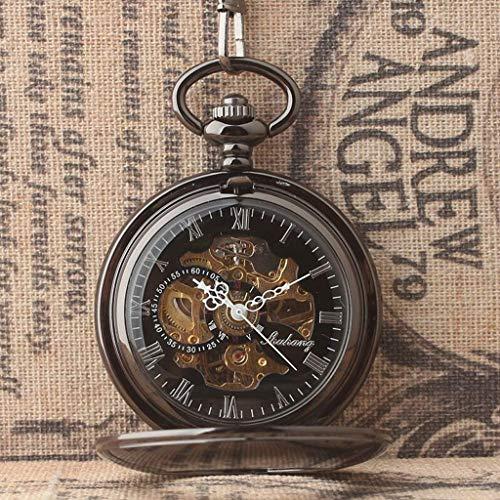 Reloj de Bolsillo Vintage Cubierta Exterior Lisa Reloj de Bolsillo mecánico Hueco Reloj de Bolsillo Simple Retro Tendencia de Moda Cadena Colgante Números de Reloj Reloj de Bolsillo