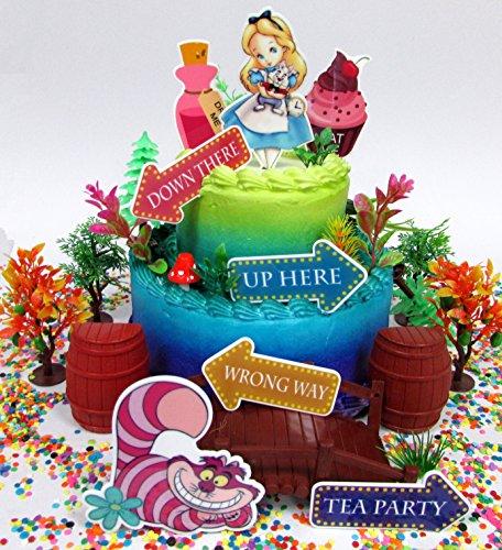 Alice in Wonderland Adventureland Birthday Cake Topper Set with Alice,...