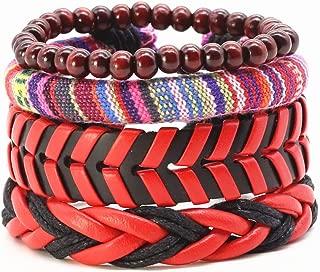 VBTY Beaded Stretch Bracelet, Stone Beads, Vintage Leather Rope Handmade Bead Woven Men Bracelets Women Bangles Female Homme Men Jewelry Accessories 4Pcs/Set