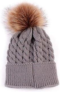 Flyme Infant Baby Winter Fur Wool Knitting Beanie Cap Crochet Hat