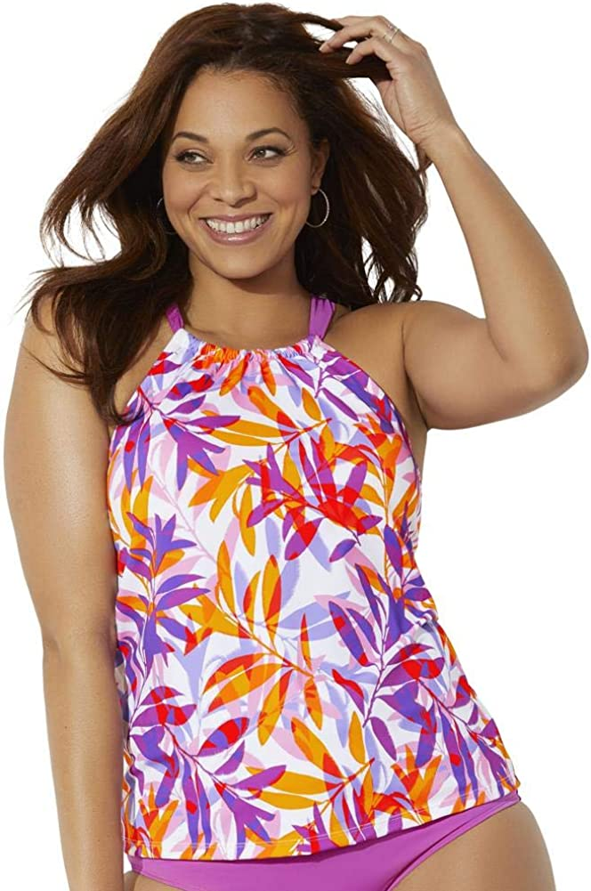 Swimsuits For All Women's Plus Size High Neck Tankini Top