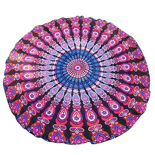 Ciffre Original Yoga Sarong Pareo Wickelrock Strandtuch Rund ca 155cm Paisley Mandala Ibiza Look Pink Lila
