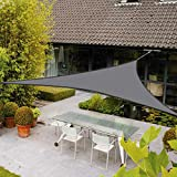 AXT SHADE Toldo Vela de Sombra Triangular 5 x 5 x 5 m, protección Rayos UV Impermeable para Patio, Exteriores, Jardín, Color Gris