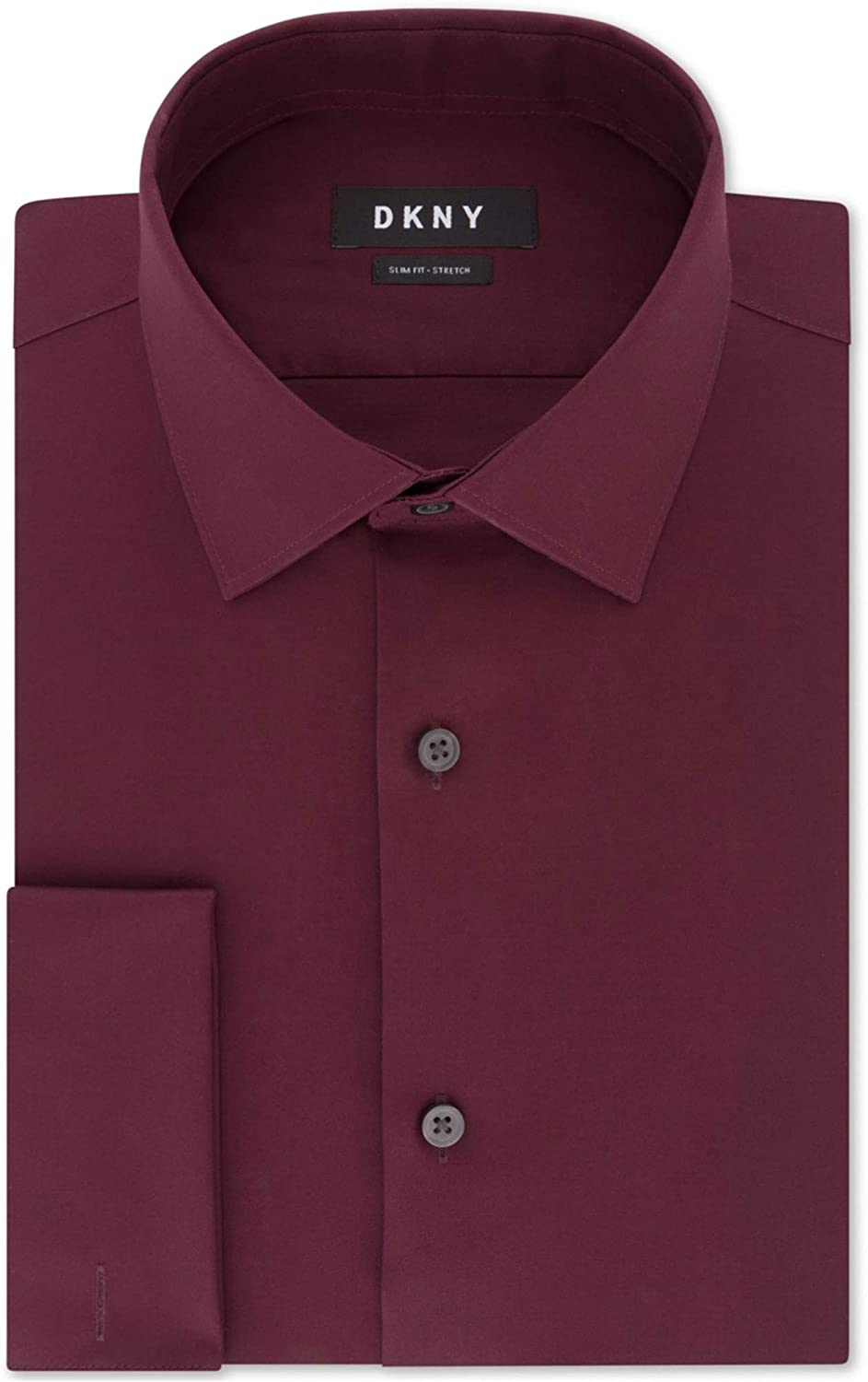 DKNY Mens French Cuff Button Up Dress Shirt, Red, 15