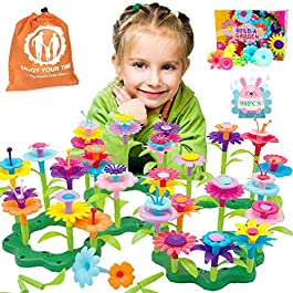 COSILY Flower Building Toy Set, Garden Building Blocks Playset for Girls Boys, 98 PCS with 11 Colors Educational Kids Toys Creative for Decoration 3, 4, 5, 6 Year Old Toddler