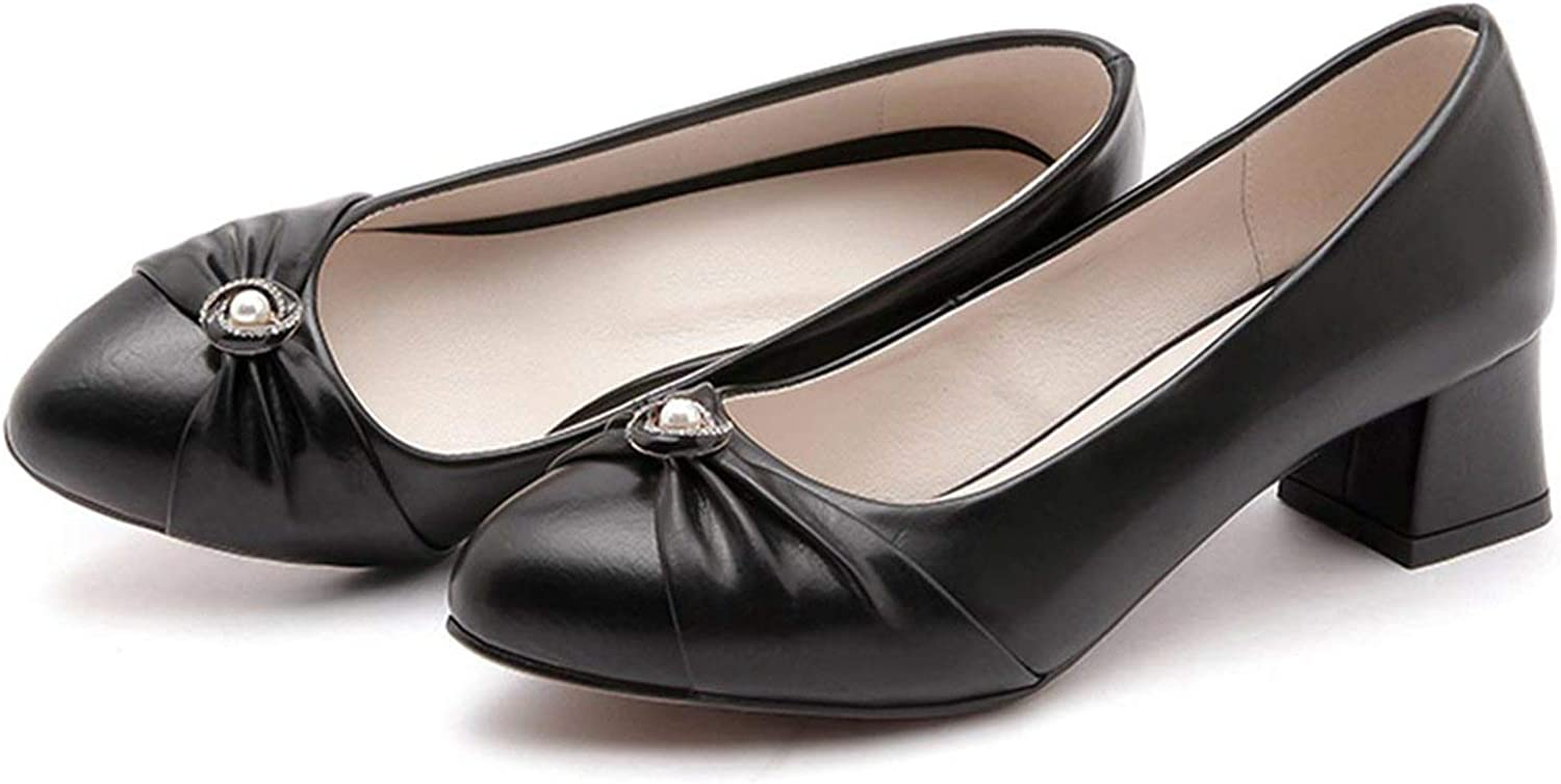 FINDYOU Women Pumps Med Heels Pointed Toe Thick Heels Elegant Shallow Dress shoes