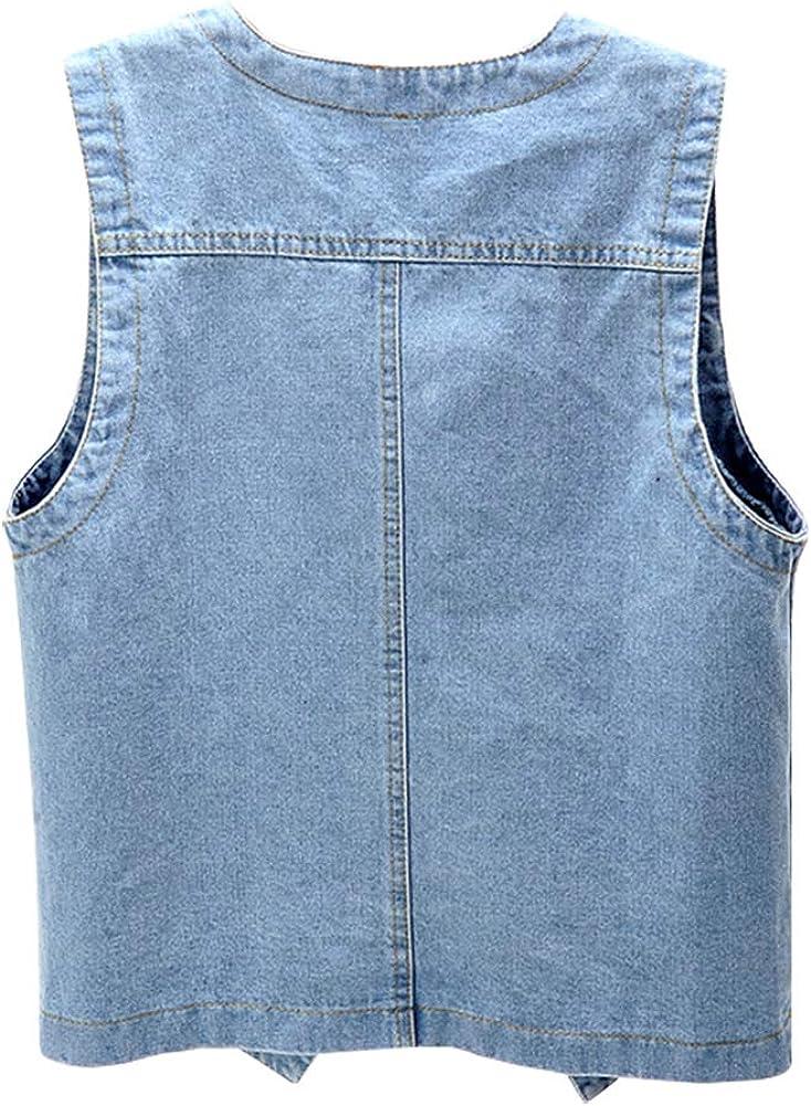 Ladyful Women's Sleeveless Denim Vest V Neck Button Down Jean Waistcoat Jacket