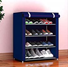 Aysis Multipurpose Portable Folding Shoes Rack 6 Tiers Multi-Purpose Shoe Storage Organizer Cabinet Tower with Iron and Nonwoven Fabric with Zippered Dustproof Cover-3D-PRINTED (4-Tier-NavyBlue)