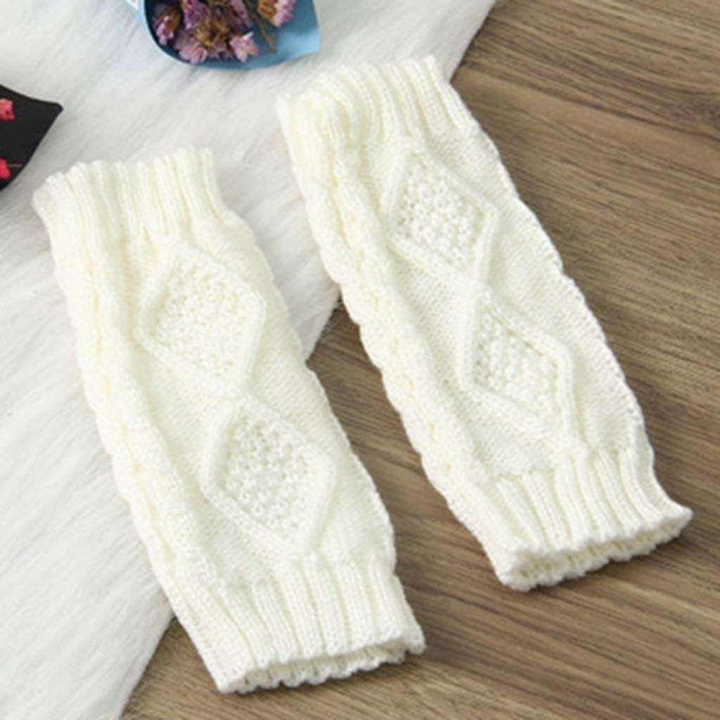 YYOBK SHt Knitted Long Hand Gloves, Women's Warm Embroidered Gloves, Winter Women's Fingerless Gloves (Color : White 2)