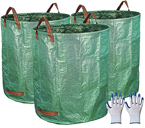 272L ガーデンバッグ ガーデンバケツ ガーデングローブ付き 大型庭用袋 自立式 ゴミ袋 頑丈なコンポストバッグ 集草 剪定 コンポスト 堆肥 折りたたみ ガーデンバケツ 腐葉土 エコ 家庭菜園 収納 かご ギフト (3枚セット)
