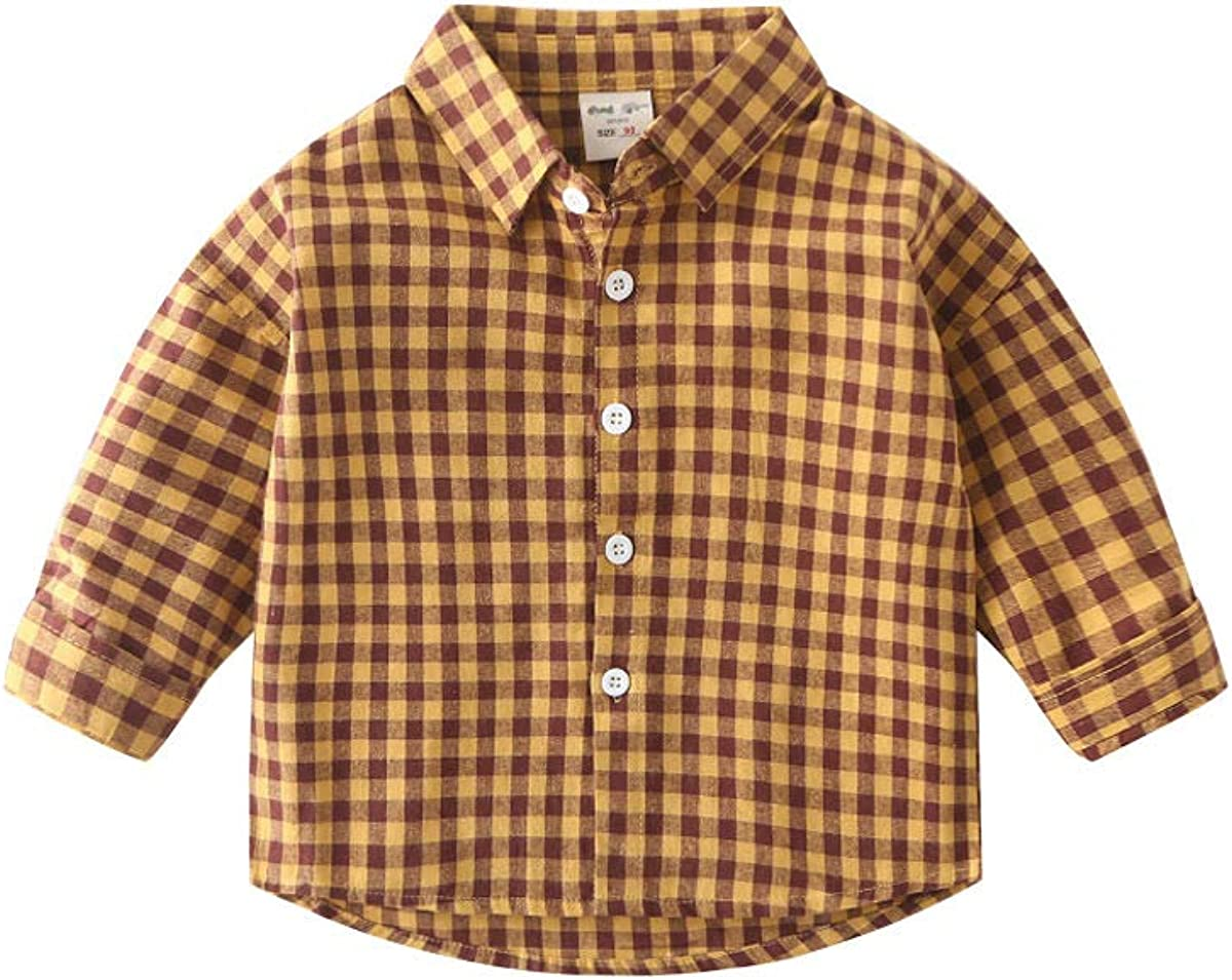 Rabuet Boy 's Cotton Plaid Shirts Max 68% OFF Sleeve Today's only Button Causal Down