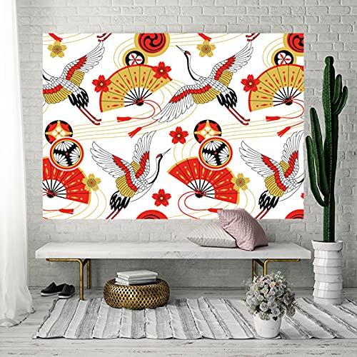 WuTongYu Tapiz Decorativo con Patrón De Estilo Clásico Chino Sala De Estar Dormitorio Cortina Deslizante Hogar Revestimiento De Pared Manta De Tiro Fondo Rojo