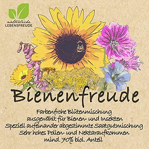 Natürliche Lebensfreude - 100g Bienenfreude - Bio Wild Blumensamen – geprüfte Qualität – Bienenwiese -Bienensamenmischung - Bienensamen - für Bienen - Blumenwiese