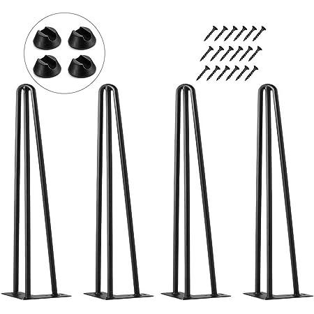 Pieds de table Hairpin Legs Table 4x Pieds en épingle à cheveux Noir 36cm Table