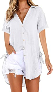 Womens Plus Size Loose Button Long Shirt Dress Cotton Ladies Casual Tops T-Shirt Blouse