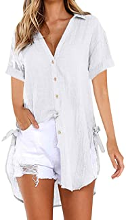 Womens Plus Size Loose Button Long Shirt Dress Cotton Ladies Casual Tops T-Shirt Blouse