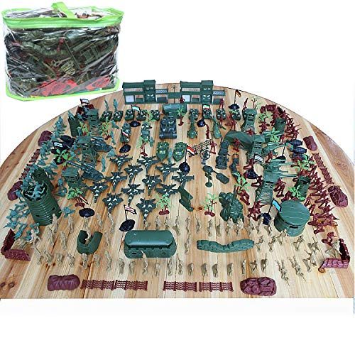 lmoulse Army Men Action Figures Military Base Set Army Toys of WW 2 Plastic Army Men Military Soldier Battle Group Battlefield Accessories Playset with Play Bucket - 300+ Pieces