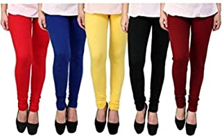 Jai Ganesh Women's Cotton Lycra Leggings (12345, Multicolour, Free Size) - Pack of 5
