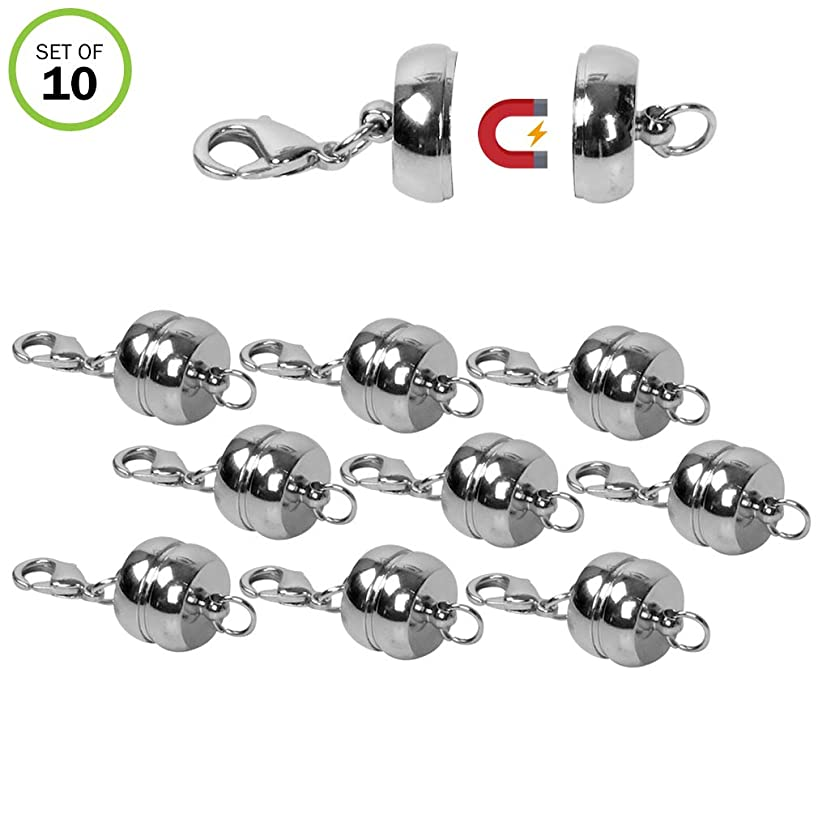 Evelots Circular Rhodium Plated Magnetic Clasps, Stylish Vintage Look, 10 Pieces