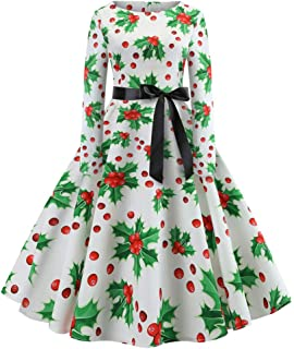 Wadonerful Women's Evening Dress Crew Neck Long Sleeve Vintage Christmas Print Party Swing Dress Slim Belted Dresses