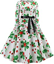 HANANei Women's Vintage Print Long Sleeve Christmas Evening Party Swing Dress (S, Green)