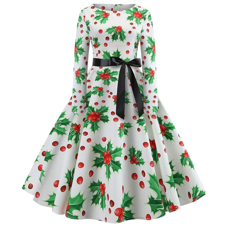 Toimoth Women's Christmas Vintage Hepburn Style Evening Party Swing Dress Snowflake Print Long Sleeve Cocktail DressL