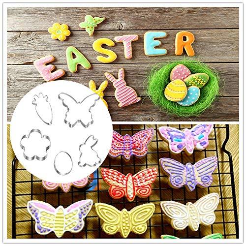 Moldes para galletas de Pascua, 5 unidades, juego de cortadores de Pascua, huevos de Pascua, forma de conejo, para galletas de Pascua y galletas para niños