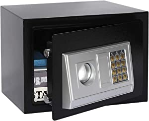 Lovndi Security Safe Box with Keypad, 0.5 Cubic Feet Digital Steel Lock Box for Home Office, 13.8×9.8×9.8 inches, Black