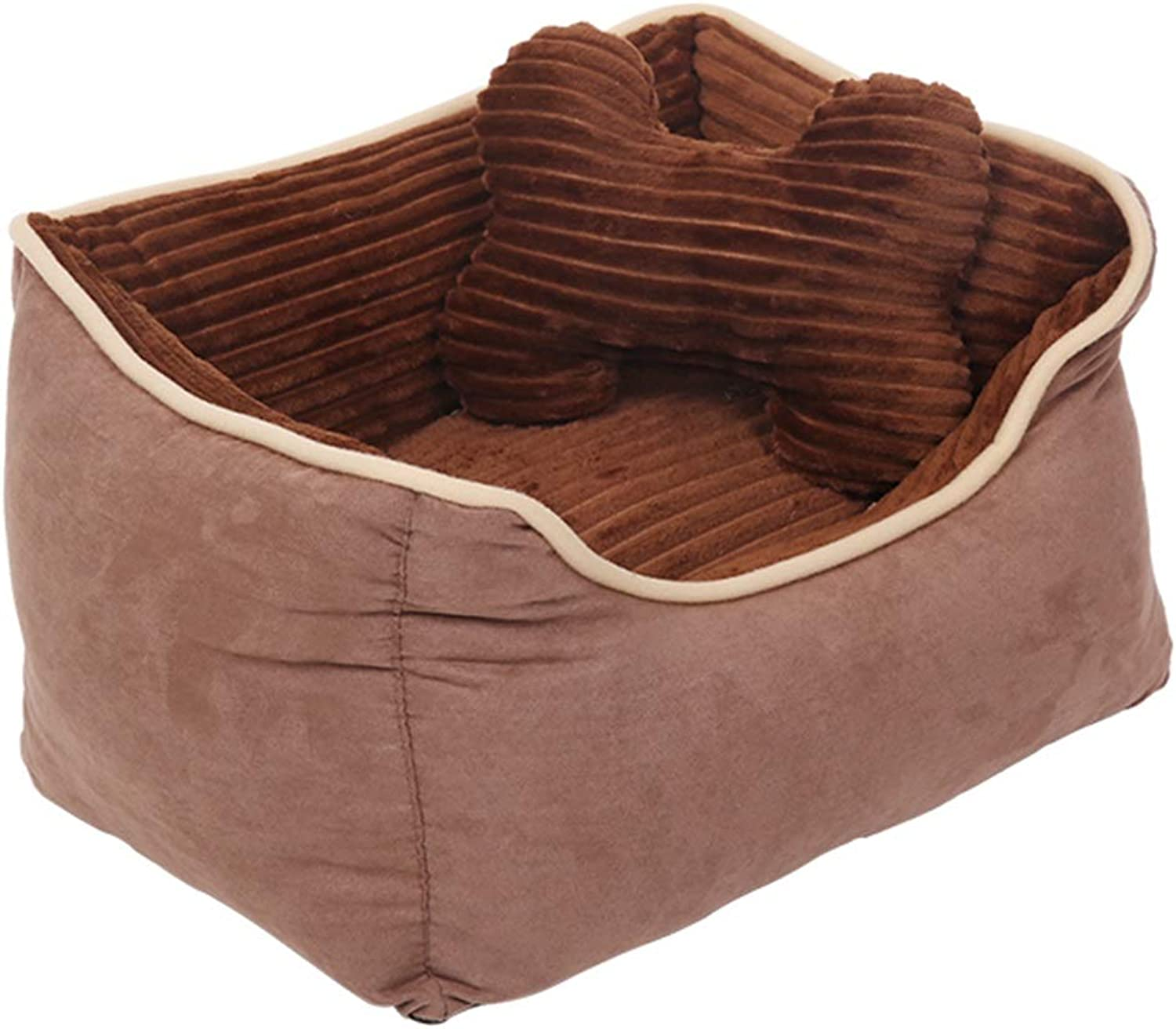 LXLA  Warm Grooved Dog Bed Basket with Corduroy Lining and Suede Sides, Washable & NonSlip (Size   S 45×35×22cm)