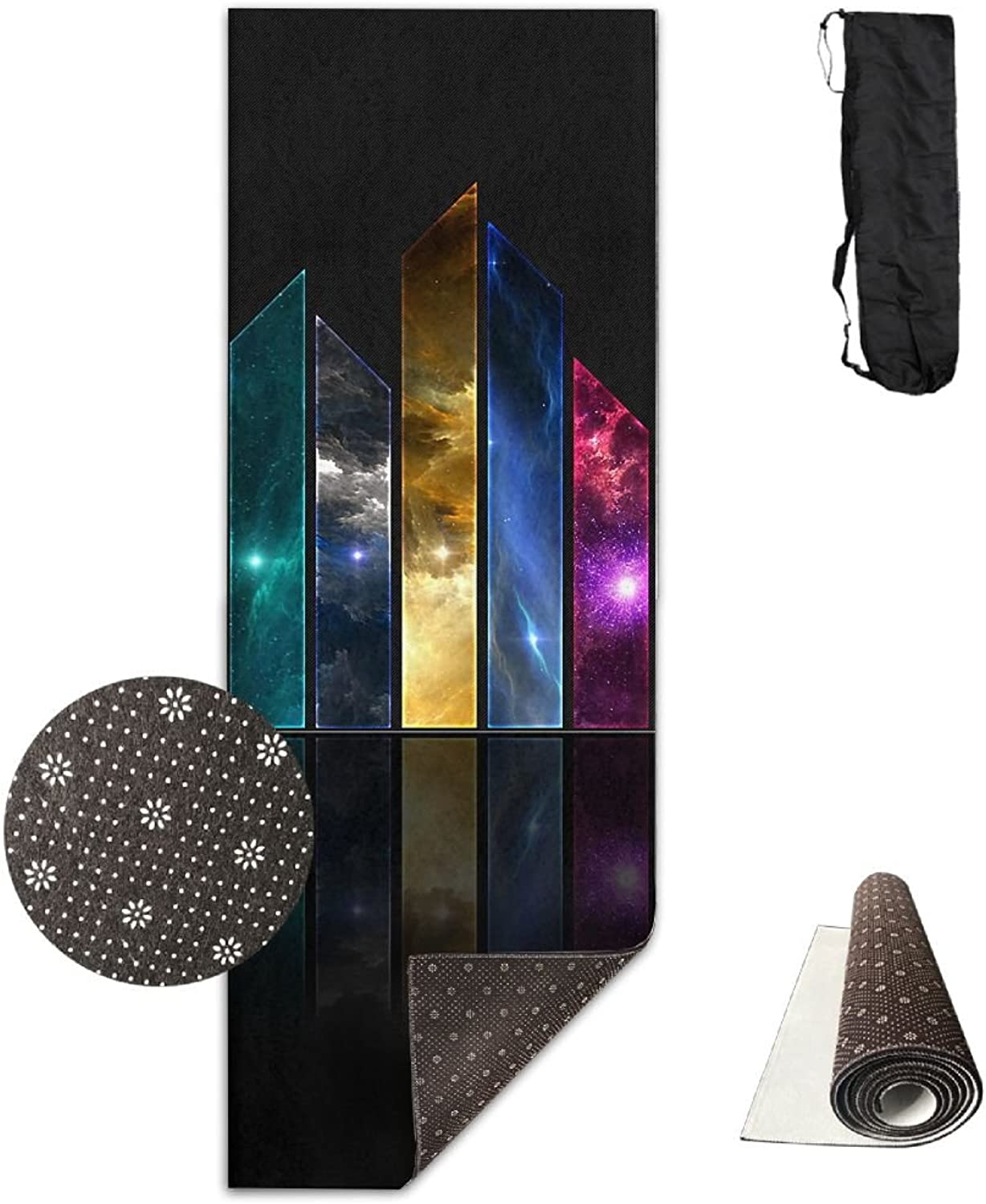 Yoga Mat Non Slip 24  X 71  Exercise Mats Abstract colorful Strip Premium Fitness Pilates Carrying Strap