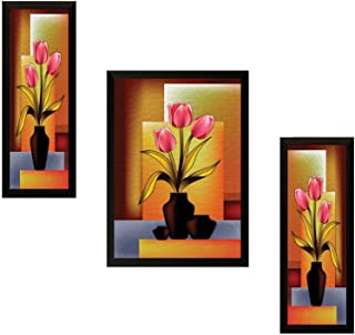 SAF UV Textured Flower Print Framed Painting Set of 3 for Home Decoration – Size 35 x 2 x 50 cm SANFSA59