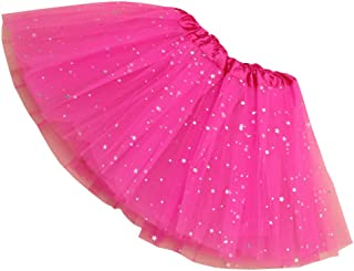 Rysly Girls Sparkle Tutus Princess Ballet Dance Layered Tulle Tutu Skirts,2-8T