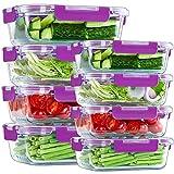 UMIZILI Lot de 8 boîtes de conservation en verre - 2 compartiments - Pour le stockage des aliments - Sans BPA