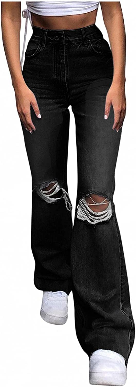 Aiouios Y2K Jeans for Women Skinny High Waisted Ripped Jeans Stretch Wide Leg Flare Leg Bell Bottom Denim Trousers Streetwear