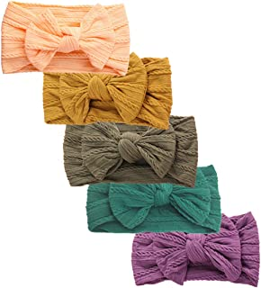 Baby Girl Nylon Headbands and Bows for Newborn Infant Toddler,Premium Turban Knotted Headwraps Child Hair Accessories
