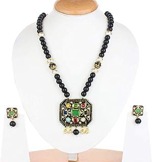 Runjhun Jewellery Jaipuri Navratna Indian Black Color Beads Designer Ethnic Traditional Semi Precious Stones Necklace Set Women
