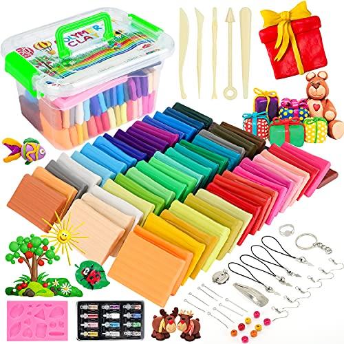 Emooqi 50 Colores Arcilla Polimérica, Kit Arcilla de Modelado Hornear con Libro, Molde, Herramientas y Accesorios Joyería, DIY Craft Kit Regalos para Niños