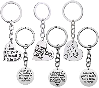 Gzingen 6pcs Teacher Appreciation Gifts Heart Circle Pendant Teacher Keychain Set Thank You Gifts for Teachers Jewelry Gif...